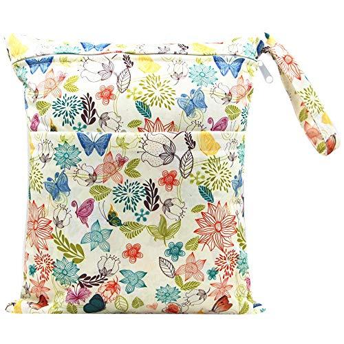 AXINWELL Bolsa de pañales de tela húmeda, impermeable, lavable, reutilizable para viajes, playa, piscina, traje de baño, ropa, accesorios con 2 bolsillos con cremallera…