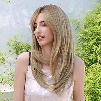Women Blonde Wig with Bangs Long Straight Wig Hair Layered Shoulder Length Wig 22 Inch