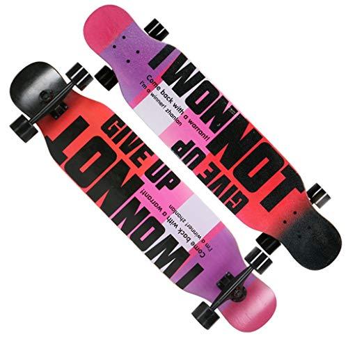 """qwert Longboard 43"""" 8-lagigem Deck aus Ahorn Longboard Skateboard Mädchen doppelseitiges Muster Anfänger Erwachsene Tanzbrett Jungen Straße Skateboard"""