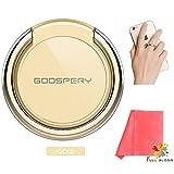 【フル・ブルーム:MERCURY コラボ】 Full Bloom ロゴ入り高品質スマホ用 コンパクトクロス & MERCURY RING セット コラボモデル マーキュリーリング ホールドリング スマホ リング 落下防止 携帯 リング iPhone Xperia Galaxy 各種スマートフォン対応 ゴールド (FB_R_G)