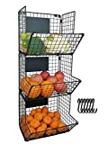 HLTOP Wall Mounted Collapsible Kitchen Storage Bins, 3 Tier Hanging Wire Fruit Basket with S-Hooks and Adjustable Chalkboards, Multipurpose Veggies Organizer Stand, Produce Rack(Black)