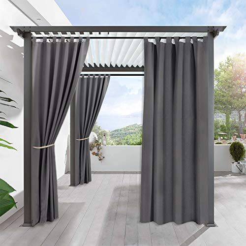 RYB HOME Blackout Curtains Outdoor - Portable Patio Curtain Tab Top Water Proof Outdoor Indoor Privacy Curtain Drape for Gazebo / Porch, 1 Panel, Wide 52 inch x Long 120 inch, Grey