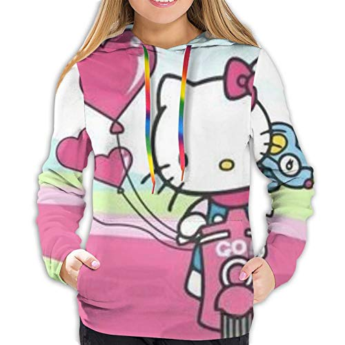 fenrris65 Hello Kitty Women 3D Realistic Digital Print Pullover Hoodie Hooded Sweatshirt