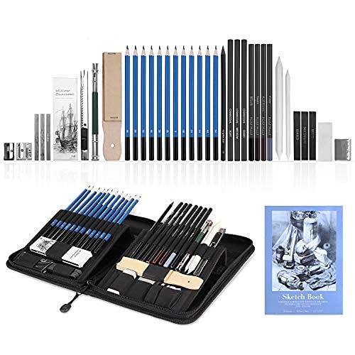 YOHOOLYO 41PCS Crayons de Dessin Crayons Croquis Kit de Croquis Dessin avec Sac Inclus Gomme Crayon de Charbon Graphite Outils pour Dessiner