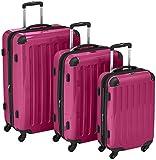HAUPTSTADTKOFFER - Alex - 3er Koffer-Set Trolley-Set Rollkoffer Reisekoffer Erweiterbar, 4 Rollen, (S, M & L), Magenta