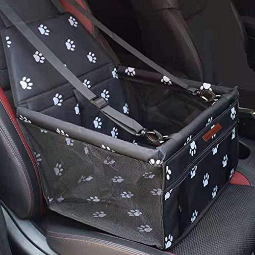 STARPIA Protector de Asiento de Coche para Mascotas Perros Gatos, Cinturón de Seguridad/Bolsa de Almacenamiento, Capazo de Coche Plegable Impermeable Lavable para Perros Viaje (Negro)