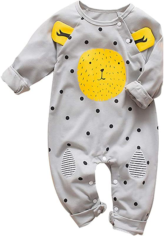 RoDeke Infant Baby Boys Girls Long Sleeve Cartoon Bear Print Striped Romper Jumpsuit Clothes 3M 18M