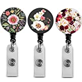 Badge Reel Retractable Badge Holder Carabiner with Alligator Clip On ID Card Holders (Amazing Floral 3pack)