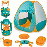 Little Explorers Kids Pop Up Play Tent with Camping Gear Outdoor Toy Tools Set (7 Pieces)