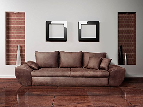 lifestyle4living Big Sofa in braun mit Schlaffunktion und Bettkasten, Vintage Look, Microfaser | XXL Couch inkl. 3 extragroßen Rücken-Kissen und hochwertiger Federung