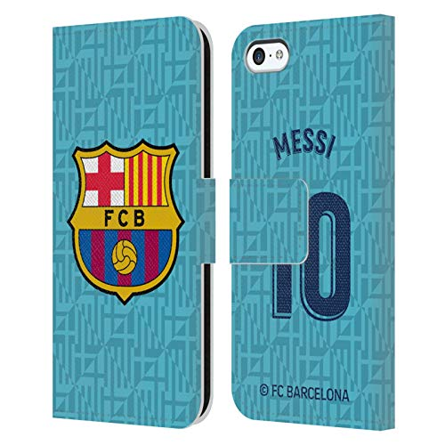 Head Case Designs Officially Licensed FC Barcelona Lionel Messi 2019/20 Players Third Kit Group 1 Leather Book Wallet Case Cover Compatible with Apple iPhone 5c