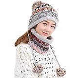 LORYLOLY Invierno Gorro y Bufanda Set, Moda Gruesa y Cálida, Forro de Vellón Térmico Gorro de Punto para Mujer Niña, para Snowboard de Esquí en Climas Fríos