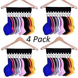 Hat Organizer Hanger, 10 Baseball Cap Holder, Hat Storage for Closet - Change Your Clothes Hanger to Ball Cap Organizer Hanger - Keep Your Hats Cleaner Than a Hat Rack - Great for Travel Use (4 Pack)