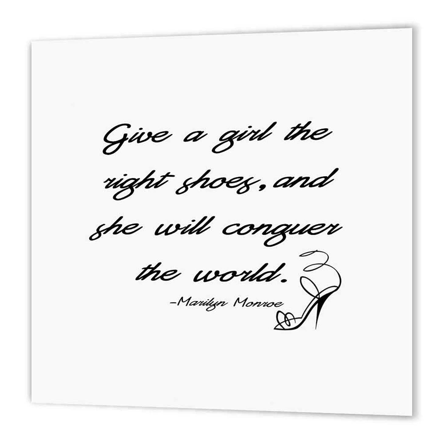3dRose ht_163990_3 Give a Girl The Right Shoes and She Will Conquer The World-Iron on Heat Transfer Paper for White Material, 10 by 10-Inch