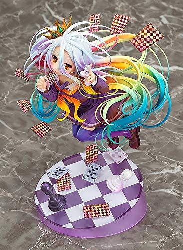 Skwenp Erwachsener spielt NO Game NO Life: Shiro PVC-Abbildung, Anime Pretty Girl Spielkarten Handmade Modell Otaku und Anime-Fans' Lieblings Weihnachten Hohe 19CM Boxed