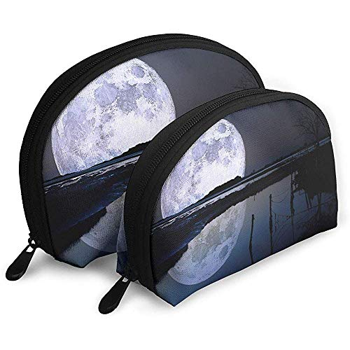 Miracular Super Moon Water Reflections Bolsas porttiles Bolsa de Maquillaje Bolsa de Aseo Bolsas de Viaje porttiles multifuncin Pequea Bolsa de Embrague de Maquillaje