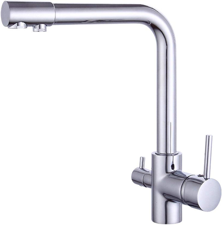 ZHAOSHOP Wasserhahn alle Kupfer bleifreie Küche Wasserhahn ziehen Spülbecken Spüle Wasserhahn Doppel-Doppel-Loch heies und kaltes Wasser Wasserhahn