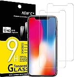 NEW'C 2 Unidades, Protector de Pantalla para iPhone 11 Pro y iPhone X y iPhone XS, Antiarañazos, Antihuellas, Sin Burbujas, 9H, Vidrio Templado Ultra Transparente y Resistente