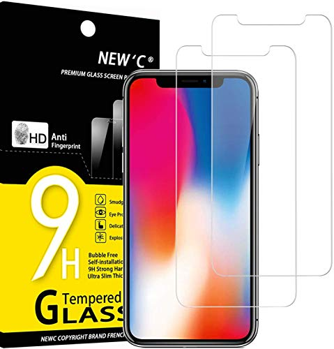 NEW'C 2 Pezzi, Vetro Temperato Compatibile con iPhone 11 PRO e iPhone X e iPhone XS, Pellicola Prottetiva Anti Graffio, Anti-Impronte, Durezza 9H, 0,33mm Ultra Trasparente, Ultra Resistente