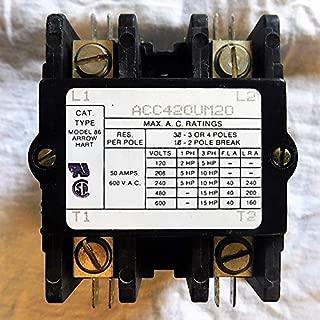 ACC420UM20 Arrow Hart Magnetic Contactor, 40 Amp IND, 50 Amp RES, 2 Poles, 600VAC;Coil Volts 110-120-VAC 50/60HZ