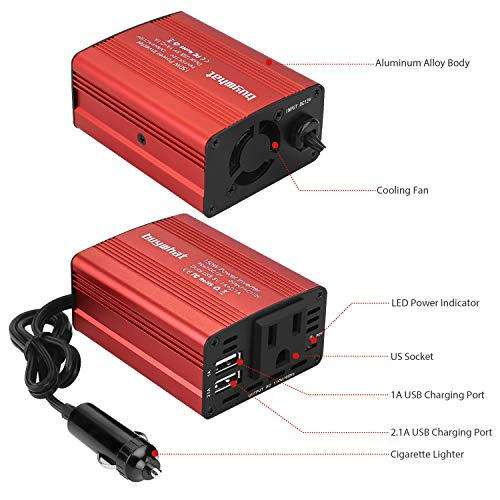 buywhat BW-150 150W Car Power Inverter DC 12V to 110V AC Outlet Converter 3.1A Dual USB Car Charger Adapter(Red)