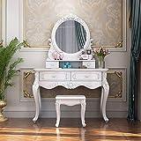 Mesas de tocador Retro de Madera Maciza de la vanidad del Maquillaje Set for niñas con Espejo y Taburete de Madera Tocador de Madera (Color : White, Size : 108x45x156cm)