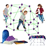 Fort Building Kit for Kids – Glow in The Dark 120 Pieces Fort Builder Stem Toys with Blanket for DIY Construction Building Castles Play Tent Rocket Tower Indoor Outdoor
