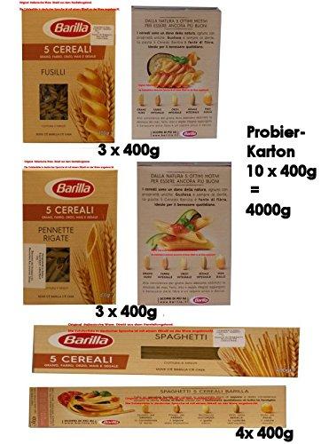 Barilla 3 x Fusilli 3 x Pennette Rigate 4 x Spaghetti 5 Cerali Grano, Farro, Orzo, Mais e Segale 10 x 400g = 4000g Teigwaren aus Weizen, Dinkel, Gerste, Mais und Roggen.