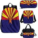 Mochila americana de 15 pulgadas con bolsa de almuerzo, juego de mochila 4 en 1, diseño de la bandera de Arizona