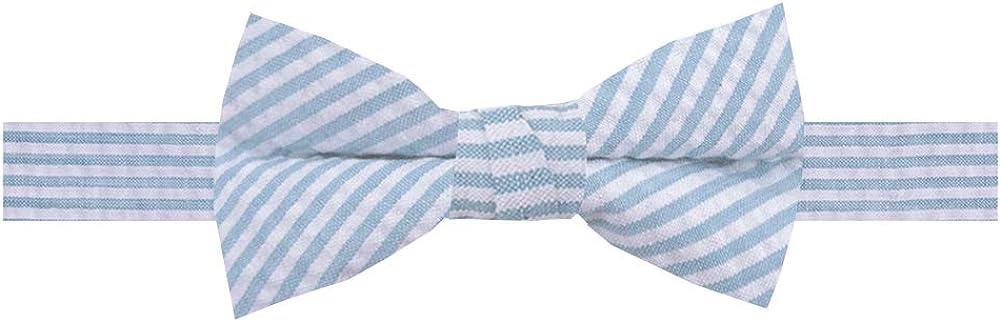 Jacob Alexander Boys' Seersucker Striped Pattern Pre-Tied Banded Bow Tie