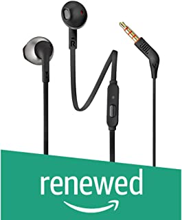 (Renewed) JBL T205 Pure Bass Metal Earbud Headphones with Mic (Black)