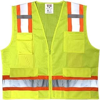 Safety Main Premium High Visibility Surveyor Vest Solid Front Mesh Back, XX-Large