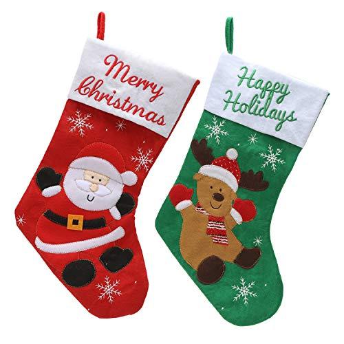 クリスマスソックス 靴下 45cm クリスマスストッキング ギフト クリスマスツリー サンタクロース クリスマストナカイ 飾り 暖炉 可愛い プレゼント 2枚
