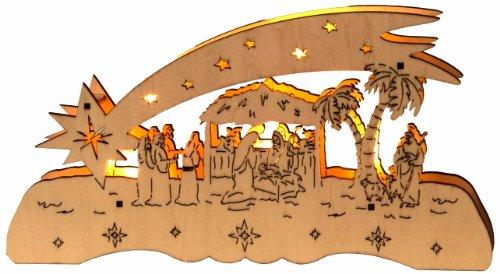 Star Bougeoir LED Thème Noël allemand motif : comète, 5 lumières, matière : bois 14 x 26 cm, fonctionne avec pile, boîte de quatre couleurs avec,