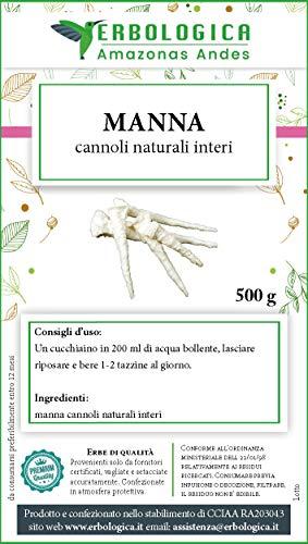 Mannite manna cannoli naturali interi 500 gr. Dolcificante naturale - ottimo rimedio antirughe, lassativo naturale contro la stitichezza - Erbologica amazonas andes