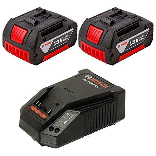 2x Bosch Akkupack GBA 18 Volt 3,0 Ah + Bosch Schnellladegerät Li-Ion AL 1860 CV