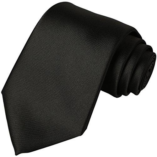 KissTies Black Tie Solid Satin Ties Mens Necktie