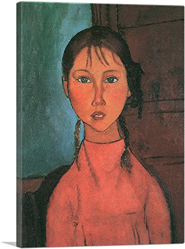 """ARTCANVAS Girl with Pigtails 1918 Canvas Art Print by Amedeo Modigliani - 12"""" x 8"""" (0.75"""" Deep)"""