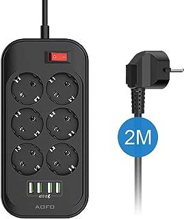 AOFO Listwa zasilająca z 6 gniazdami wtykowymi, przełączana z 4 portami USB (5 V/3,4 A, 17 W), przełączana wielokrotna och...