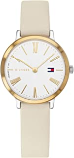 Tommy Hilfiger 1782051 Womens Quartz Watch, Analog Display and Leather Strap, White
