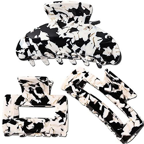 RANYE 3PC Hair Claw Banana Clips Tortoise Claw Hair Clip Acrylic Hair Jaw Clips French Design Celluloid Hair Clamps Clips Non Slip Grip Jaw Clips for Women(Milk Cow pattern)