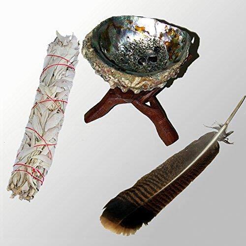 Grand Ensemble de purification: [W7_T6_A6_F10] Baton Purificateur Sauge Blanche Moyen et coquille d'ormeau 15,5-18cm (abalone shell 6-7Inch)- Salvia Apiana - WHITE SAGE XL Smudge 7-8'' (~18-20cm) + trépied en bois + sauvage de plume de dinde (10-11+Inch/~25-28cm)