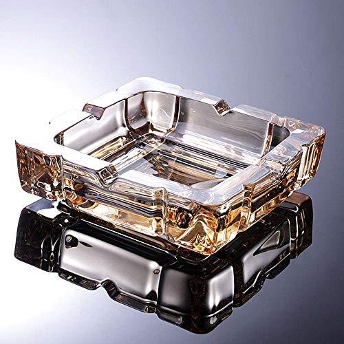 COLiJOL Porta Cigarrillos Ceniceros de Cigarros Cenicero de Vidrio Transparente Cenicero de Escritorio para Fumar Cenicero Cuadrado Transparente Cenicero de Cigarrillos (Color: Transparente),Oro Ámba