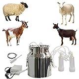 CJWDZ Milking Machine for Goats Cows, Pulsation Vacuum Pump Milker, Milking Supplies W/Stainless Steel Bucket, Portable Suction Machine for Jerseys, Nigerian Dwarfs, Nubian Mix (Goat, 14L)