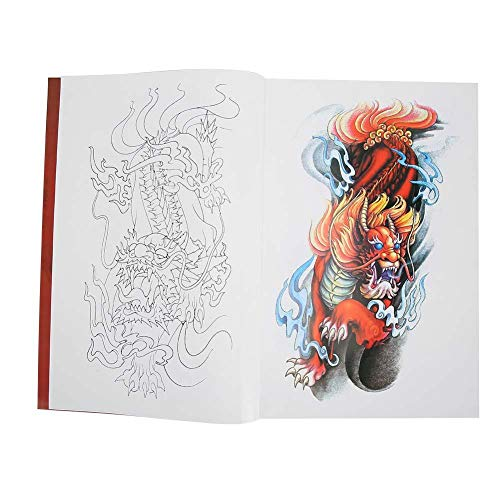 Grand Livre de dessins de Tatouage, 56 Pages Koi Kylin Pattern Shader Tattoo Book Livres de Conception de Tatouage Professionnel