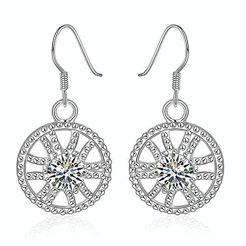 Gymqian Novelty Jewelry-Silver Plated Drop Earrings Fishhook Round Hollow Wheel Crystal White Dangler