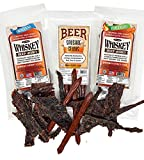WhiskeyJerky.com, Beef Jerky and Sausage Sticks Marinated in Whiskey, Jerky gift box, Variety 3-Packs , Jerky Gifts for men (Orig & Habanero Whiskey Jerky / Beer Sausage)