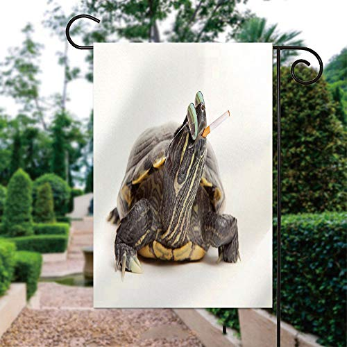ALUONI Garden Flags, Rebel Turtle Wearing Sunglasses and Smoking Yard Holiday and Seasonal Decorative Flags Garden Outdoor Decorative - 12 x 18 in IS152960