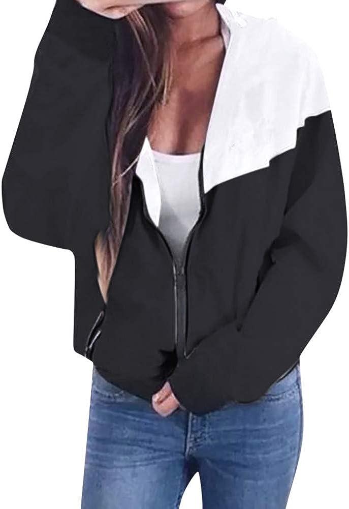Rambling Women's Color Block Drawstring Hooded Zip up Sports Jacket Windproof Windbreaker