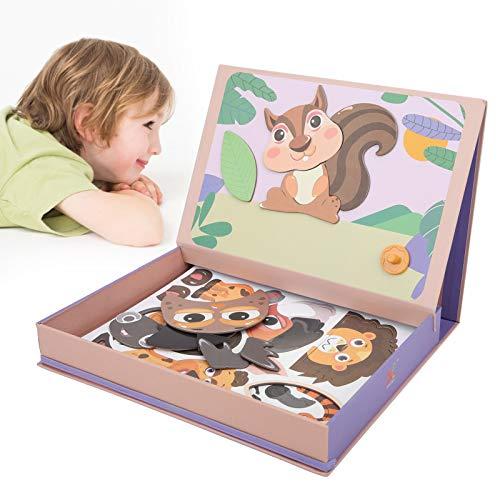 Brinquedo de quebra-cabeça infantil, brinquedo de quebra-cabeça de brinquedo ímã de quebra-cabeça Brinquedo de quebra-cabeça liso Prancheta com elástico para criança((animal))
